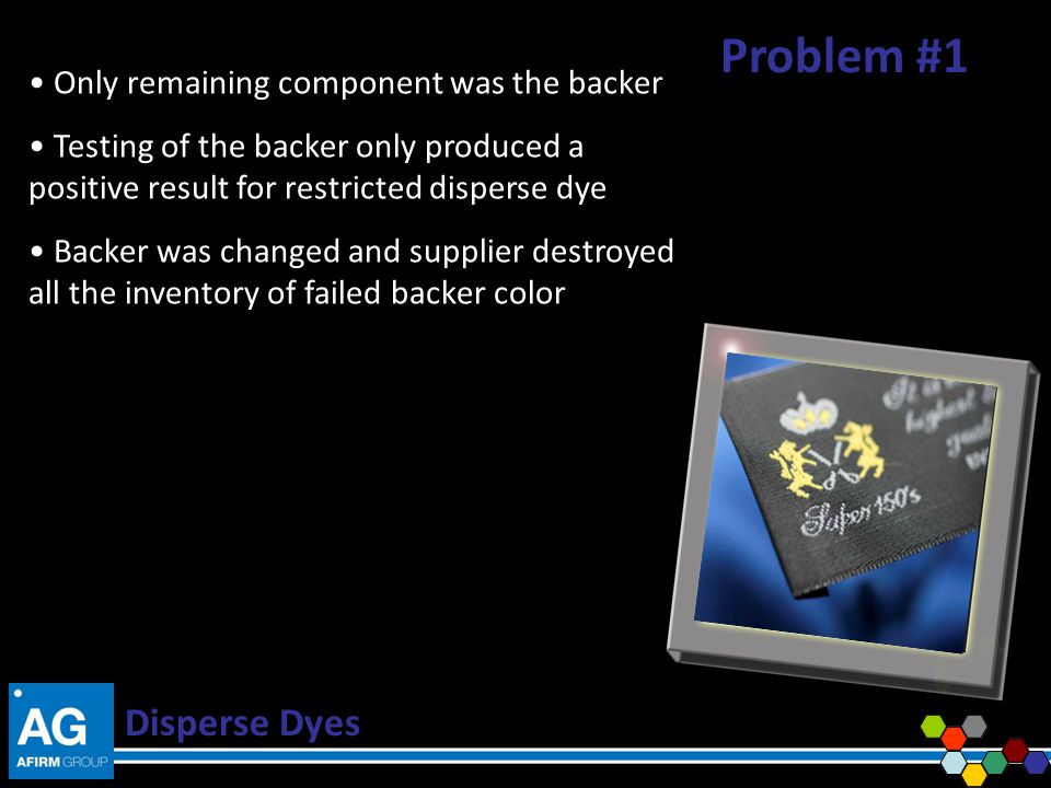Problem #1 Disperse Dyes Only remaining component was the backer