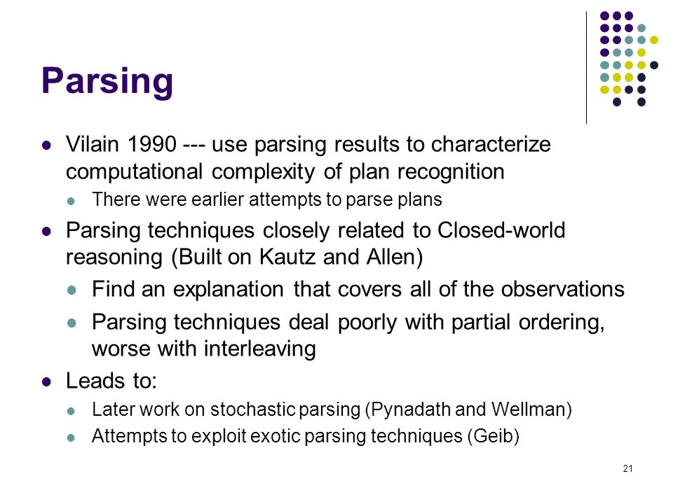 Parsing Vilain 1990 --- use parsing results to characterize computational complexity of plan recognition.