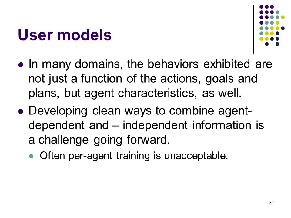 User models In many domains, the behaviors exhibited are not just a function of the actions, goals and plans, but agent characteristics, as well.