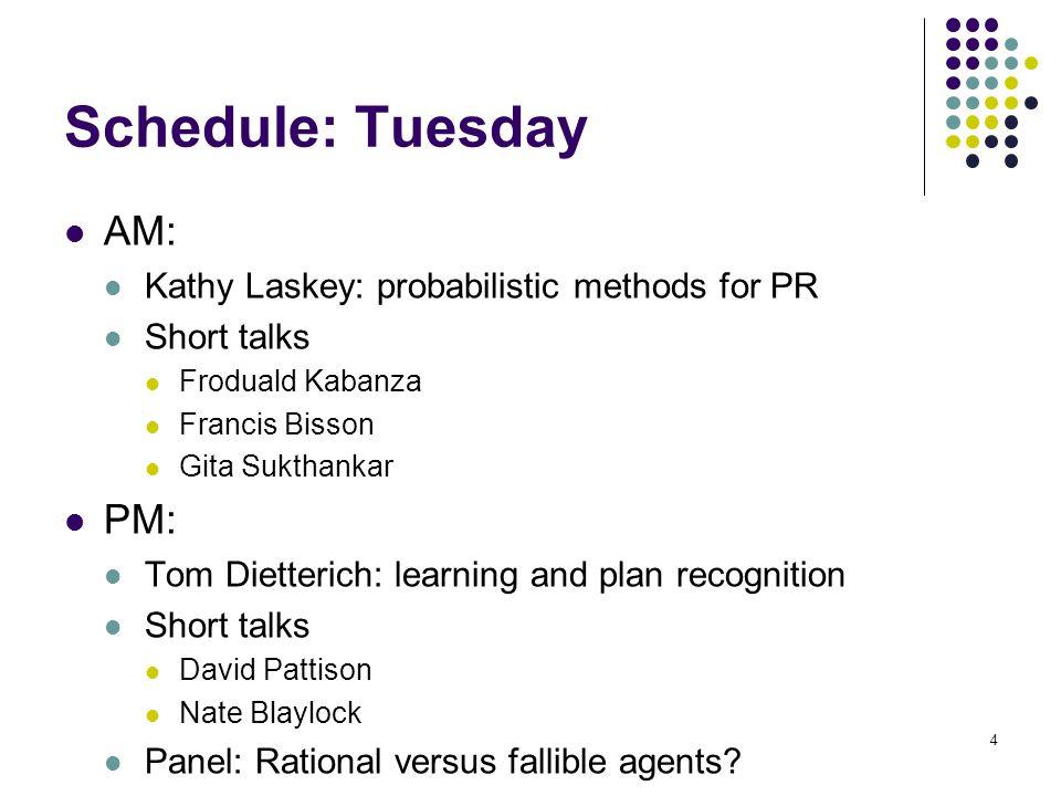 Schedule: Tuesday AM: PM: Kathy Laskey: probabilistic methods for PR