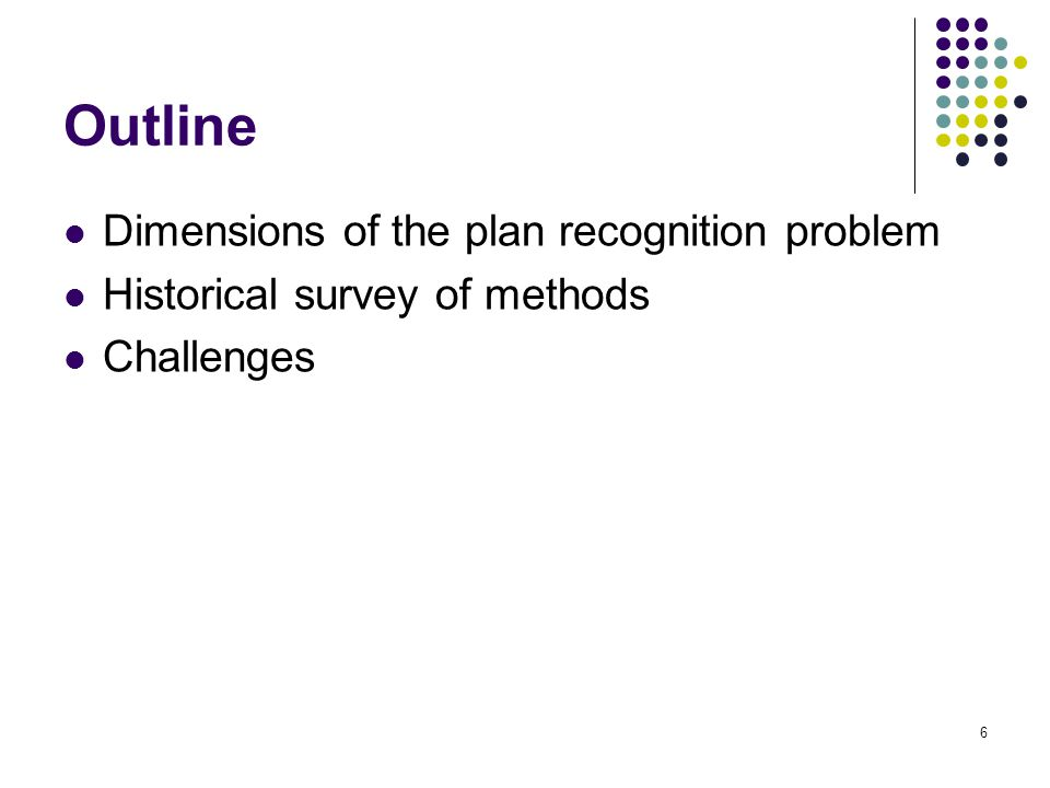 Outline Dimensions of the plan recognition problem
