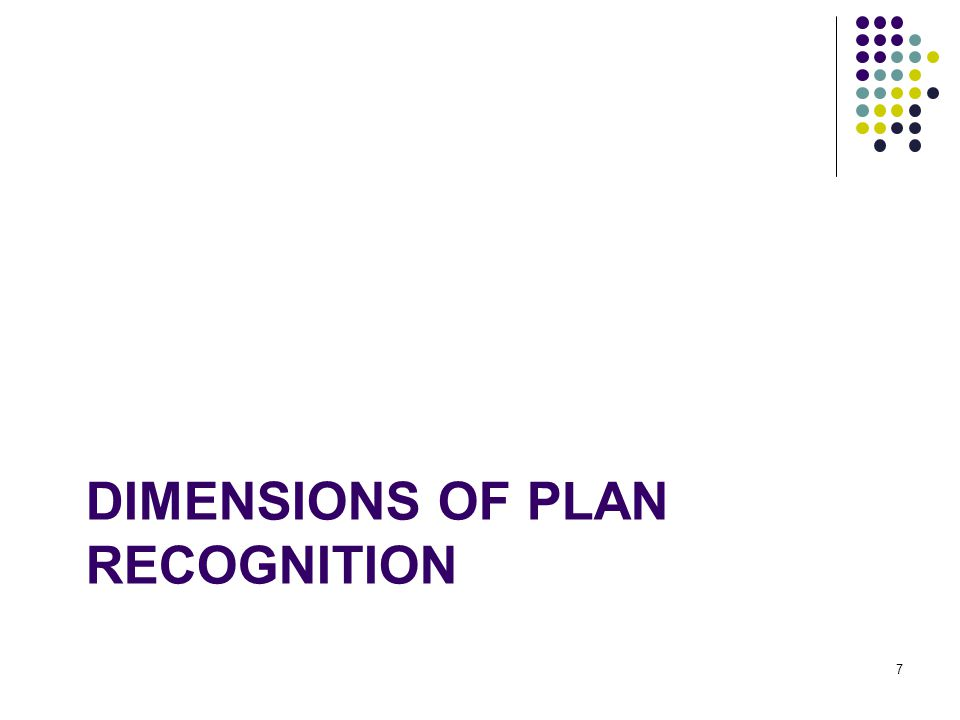 Dimensions of Plan recognition