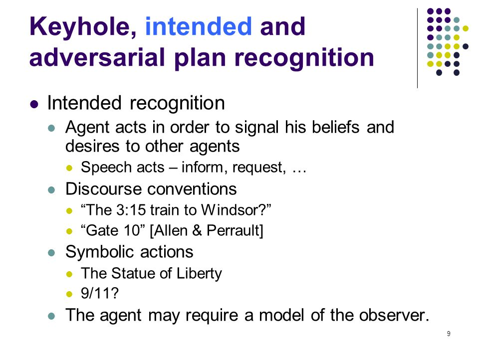 Keyhole, intended and adversarial plan recognition