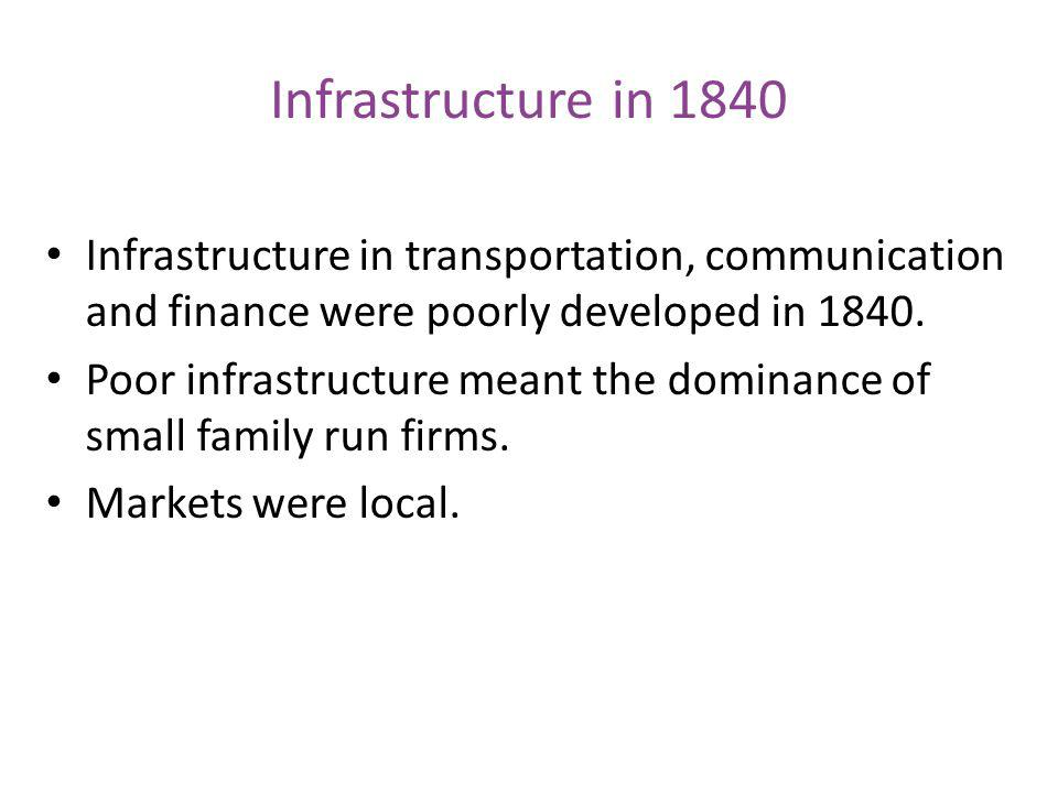 Infrastructure in 1840 Infrastructure in transportation, communication and finance were poorly developed in 1840.