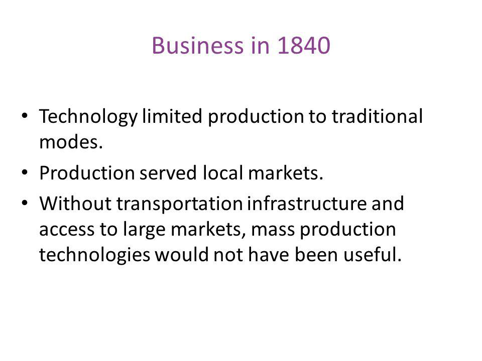 Business in 1840 Technology limited production to traditional modes.