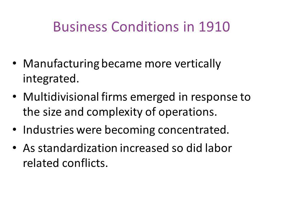 Business Conditions in 1910