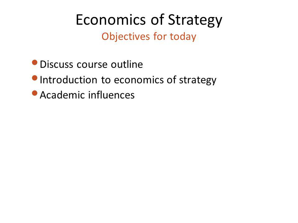 Economics of Strategy Objectives for today