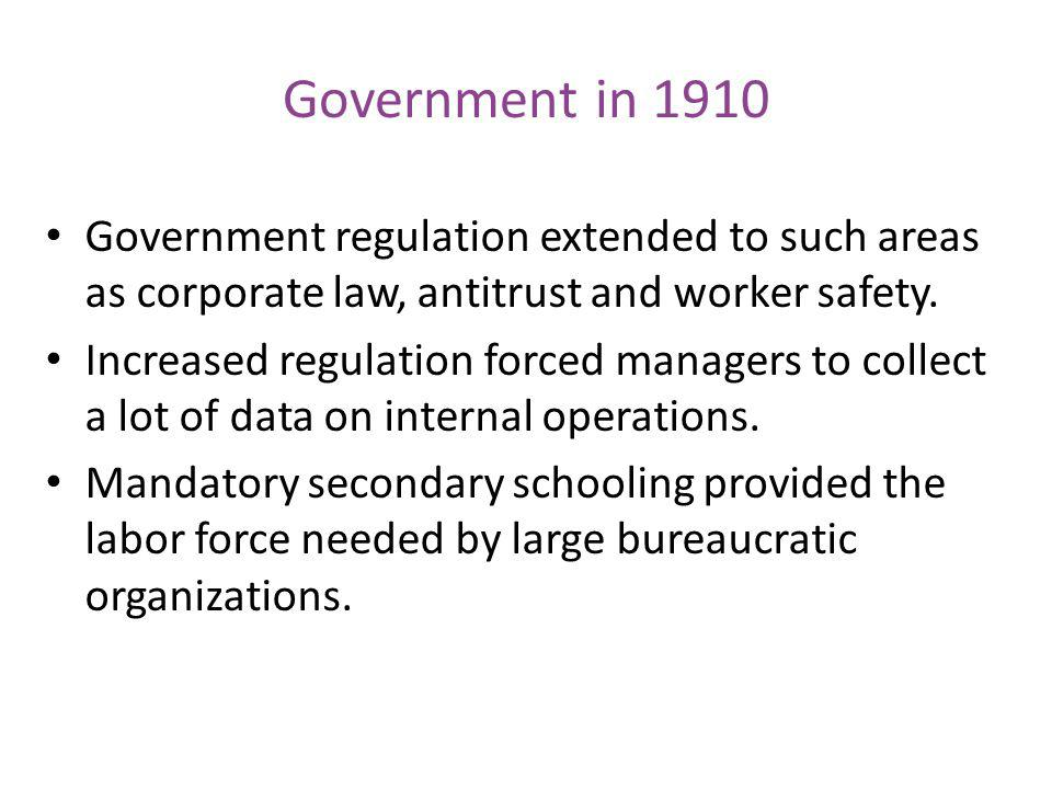 Government in 1910 Government regulation extended to such areas as corporate law, antitrust and worker safety.