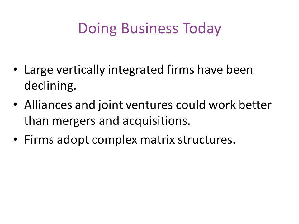 Doing Business Today Large vertically integrated firms have been declining.