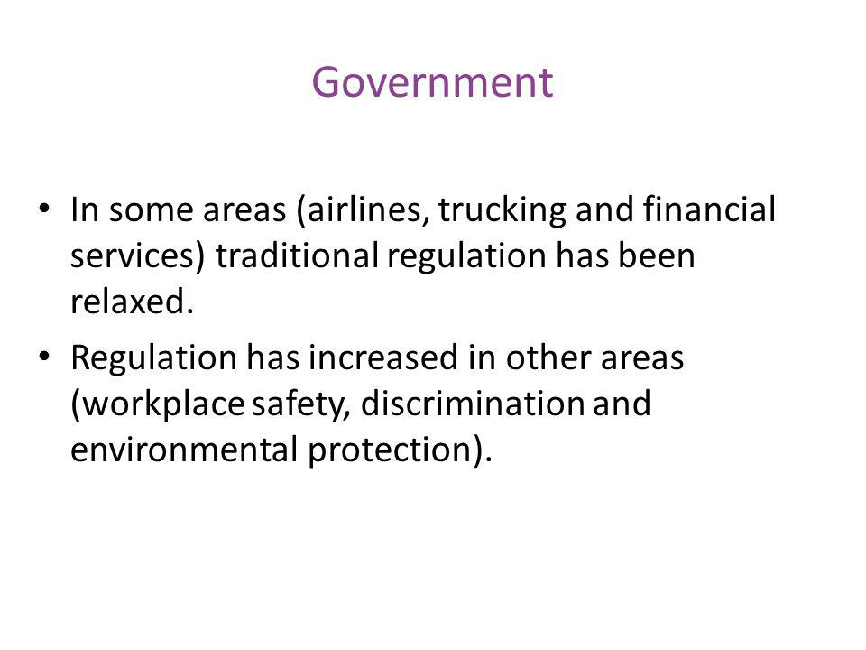 Government In some areas (airlines, trucking and financial services) traditional regulation has been relaxed.