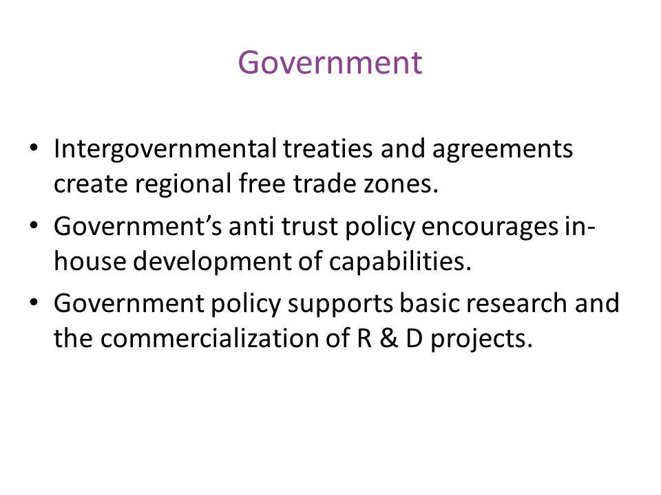 Government Intergovernmental treaties and agreements create regional free trade zones.