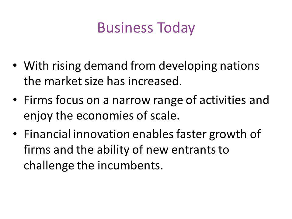 Business Today With rising demand from developing nations the market size has increased.