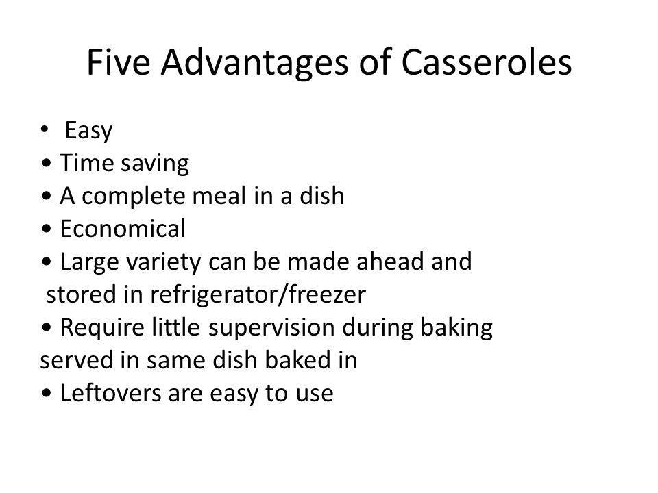 Five Advantages of Casseroles