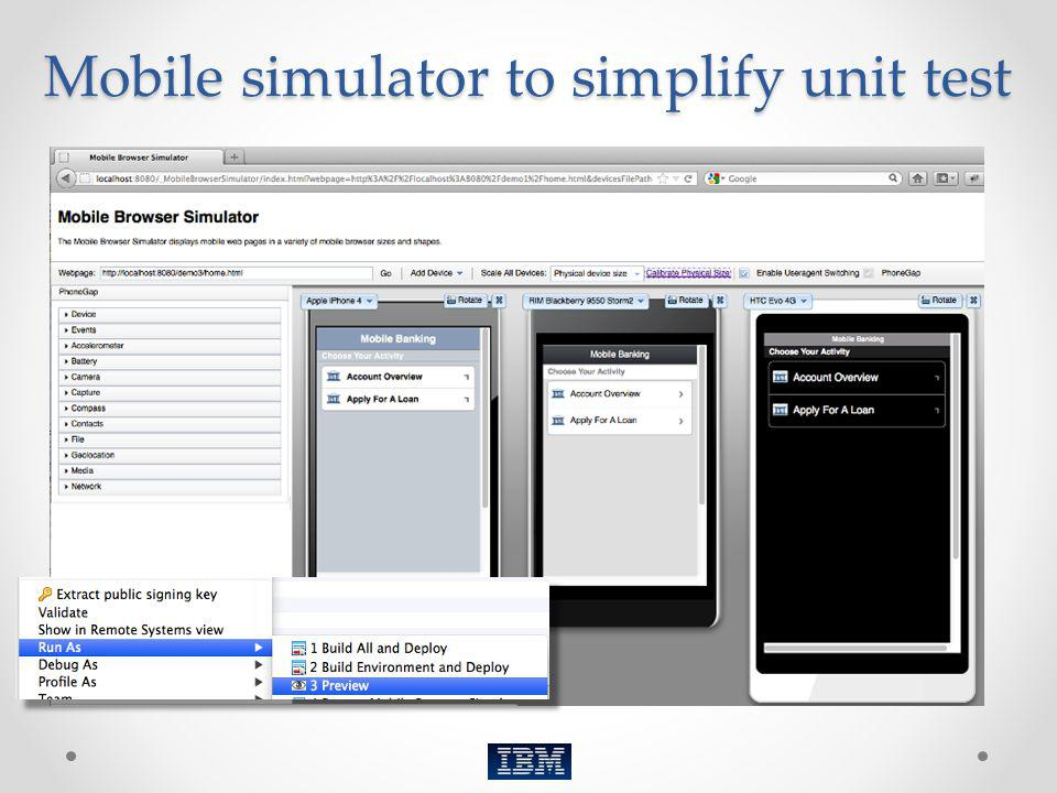 Mobile simulator to simplify unit test