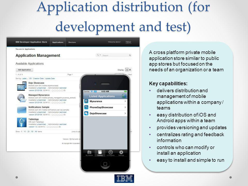 Application distribution (for development and test)