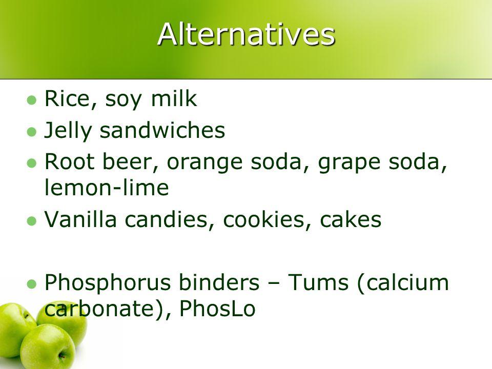 Alternatives Rice, soy milk Jelly sandwiches
