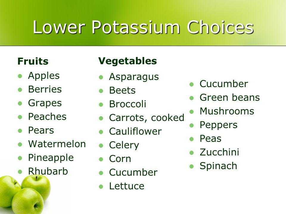 Lower Potassium Choices
