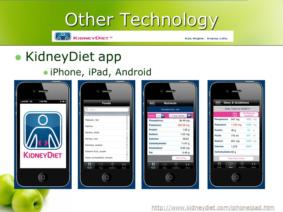 Other Technology KidneyDiet app iPhone, iPad, Android