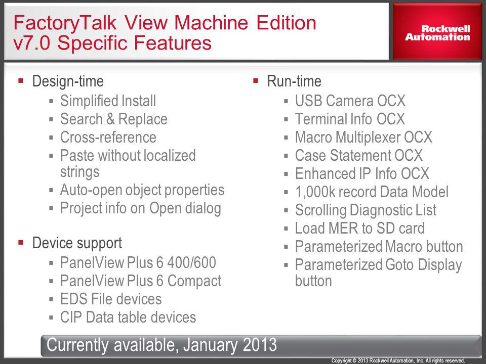 FactoryTalk View Machine Edition v7.0 Specific Features
