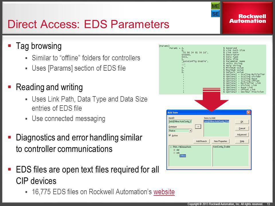 Direct Access: EDS Parameters