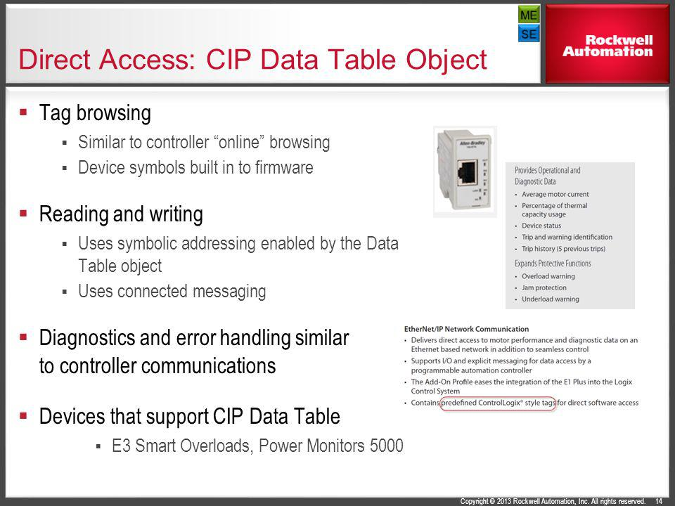 Direct Access: CIP Data Table Object