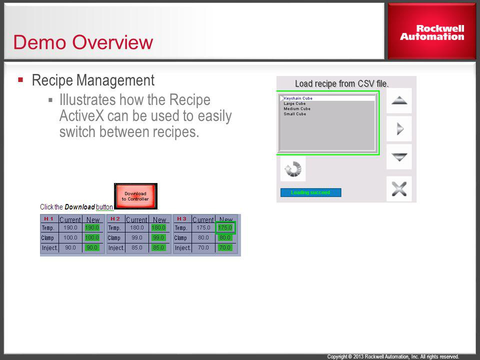 Demo Overview Recipe Management