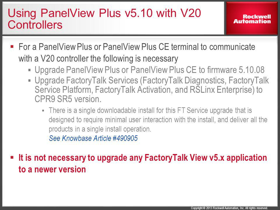 Using PanelView Plus v5.10 with V20 Controllers