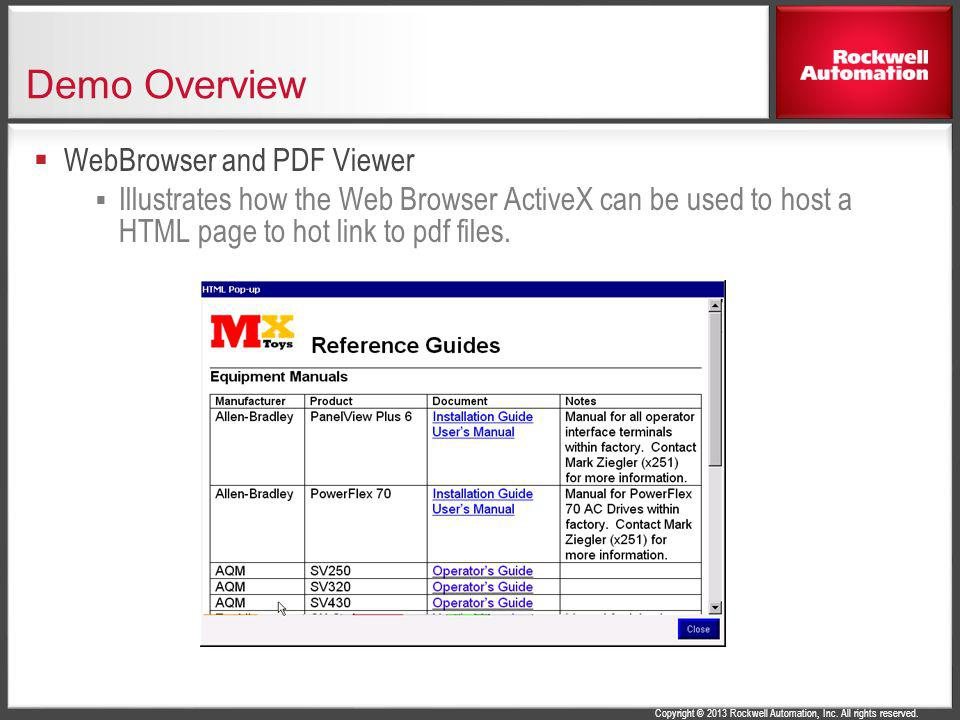 Demo Overview WebBrowser and PDF Viewer