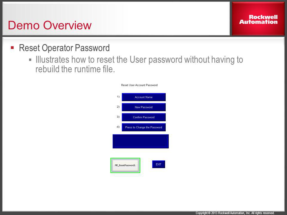 Demo Overview Reset Operator Password