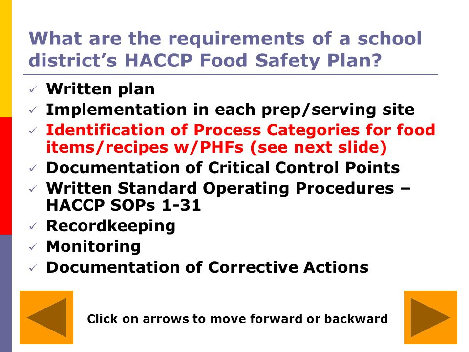 What are the requirements of a school district's HACCP Food Safety Plan