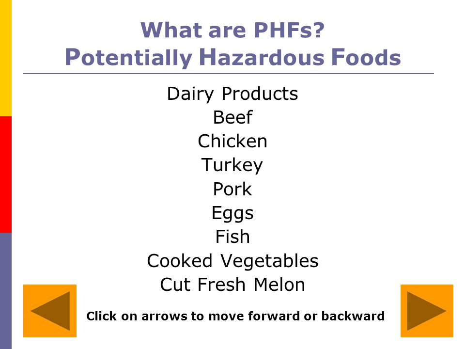What are PHFs Potentially Hazardous Foods