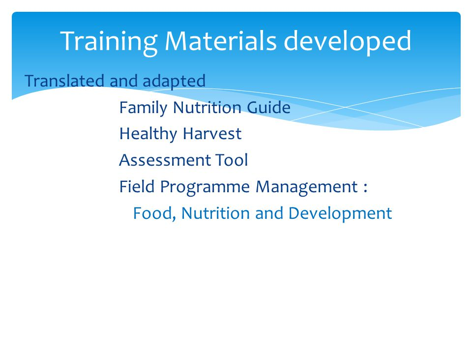 Training Materials developed