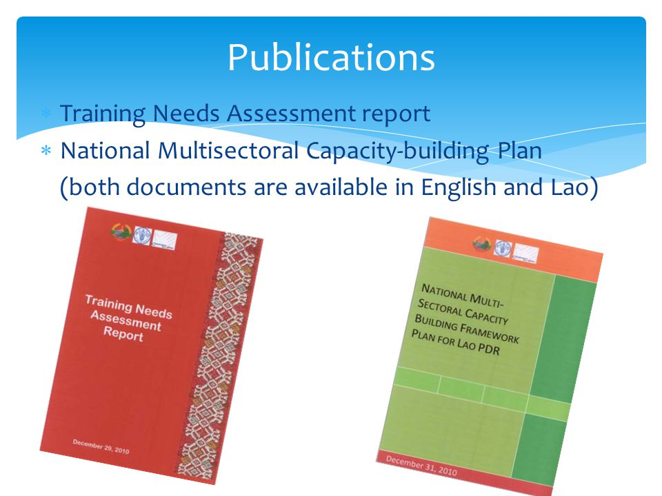 Publications Training Needs Assessment report
