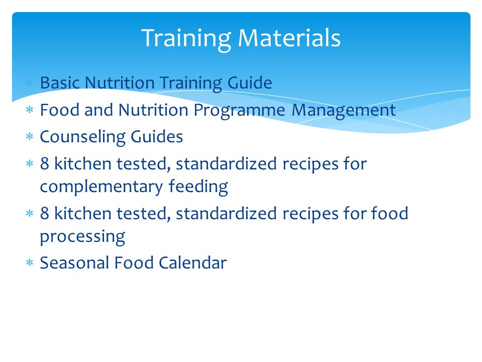 Training Materials Basic Nutrition Training Guide