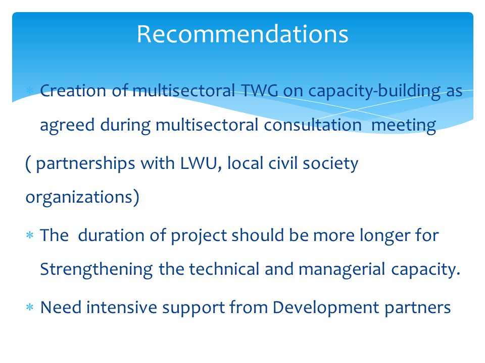 Recommendations Creation of multisectoral TWG on capacity-building as agreed during multisectoral consultation meeting.