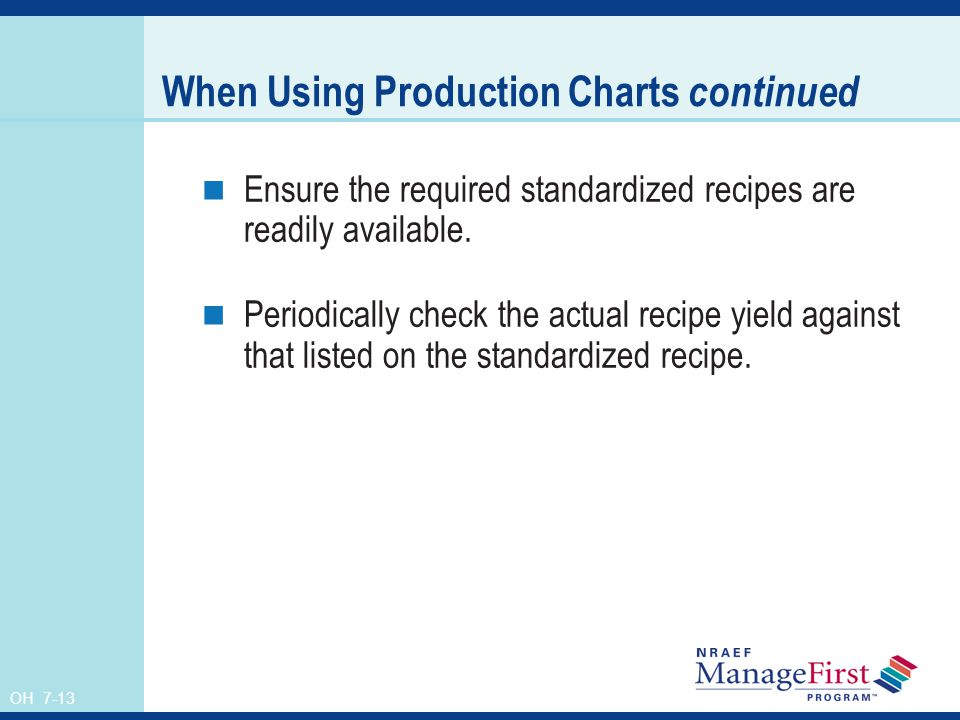 When Using Production Charts continued