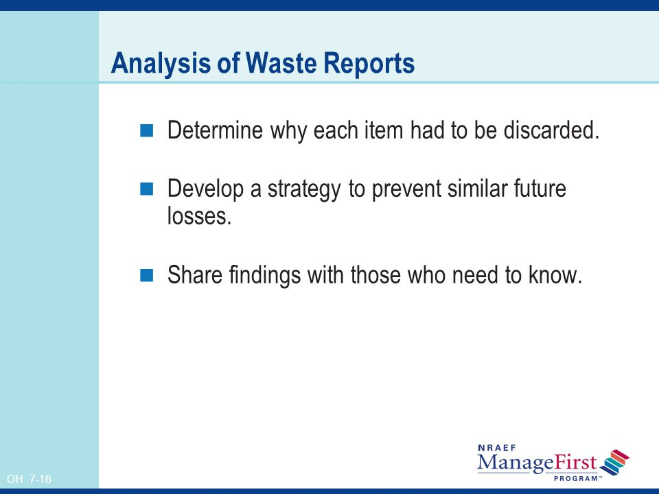 Analysis of Waste Reports