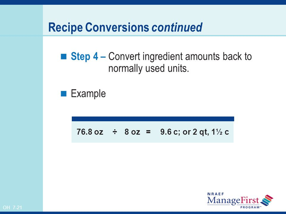 Recipe Conversions continued