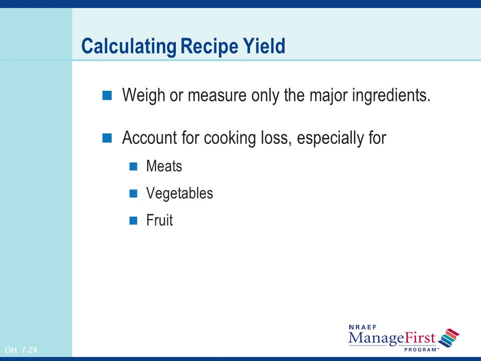 Calculating Recipe Yield
