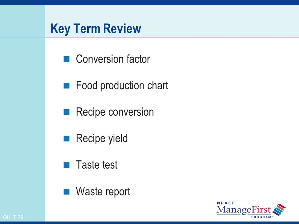 Key Term Review Conversion factor Food production chart