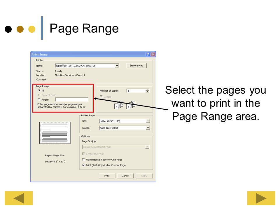 Select the pages you want to print in the