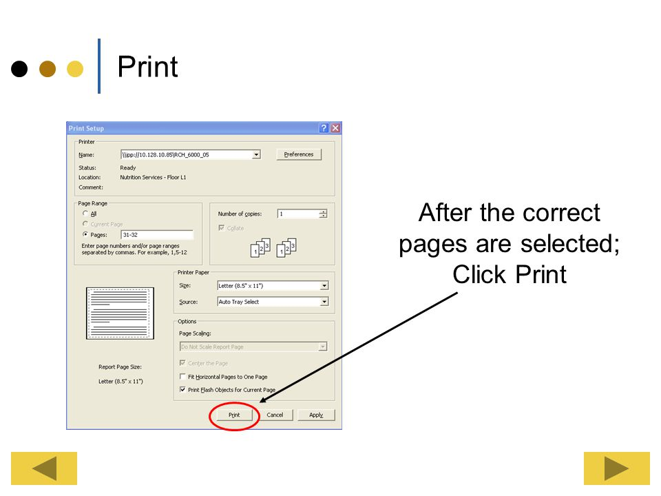 After the correct pages are selected; Click Print