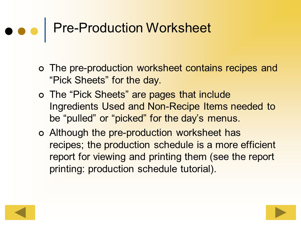Pre-Production Worksheet