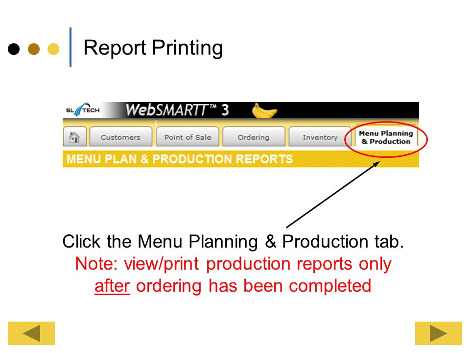 Click the Menu Planning & Production tab.