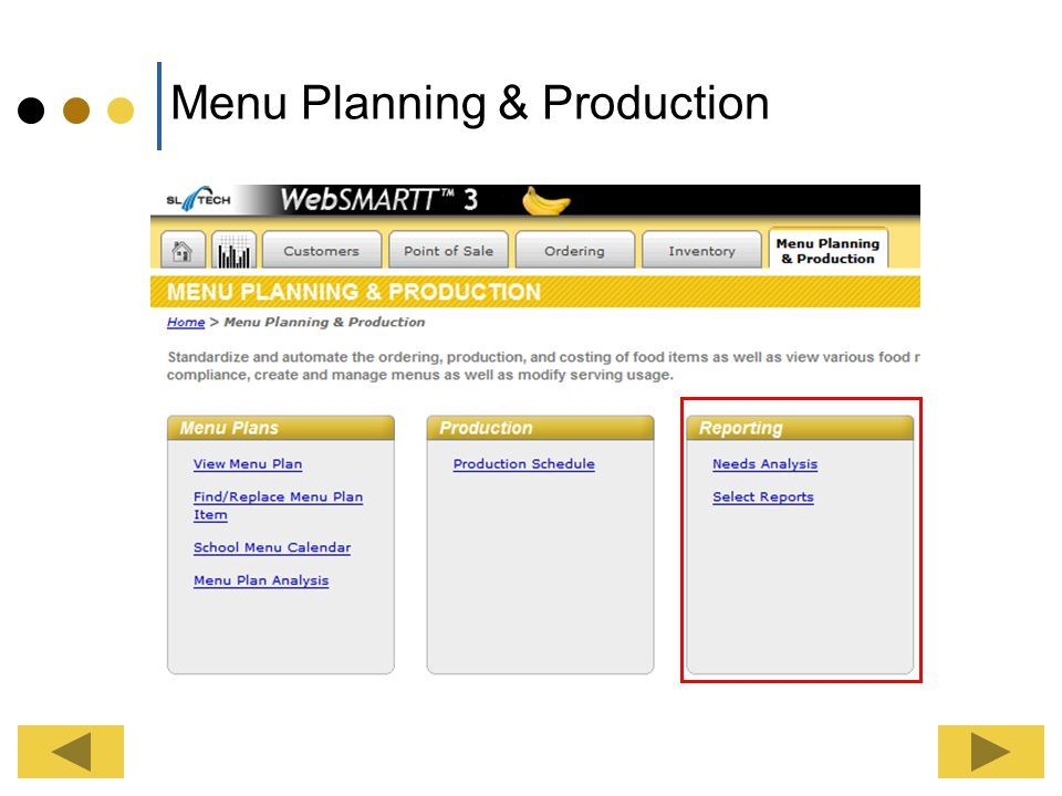 Menu Planning & Production