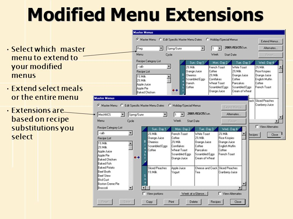 Modified Menu Extensions