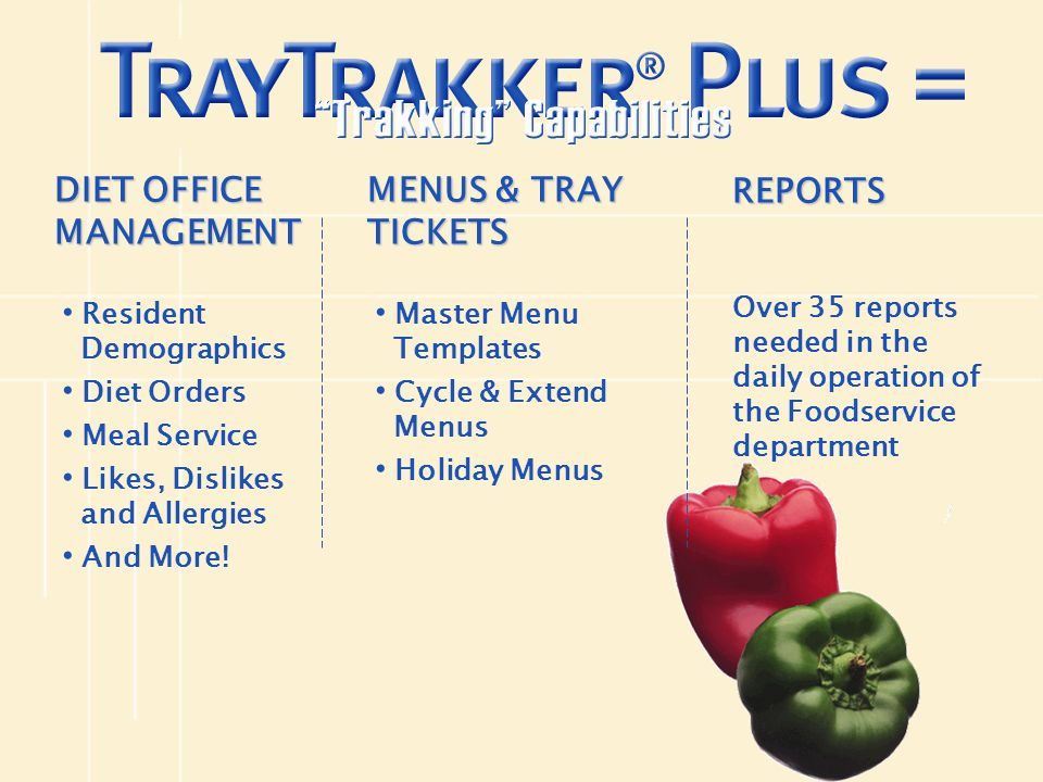 DIET OFFICE MANAGEMENT MENUS & TRAY TICKETS REPORTS
