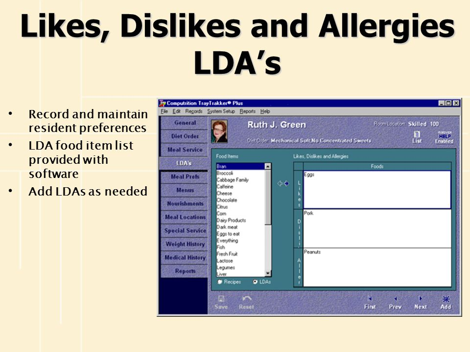 Likes, Dislikes and Allergies LDA's