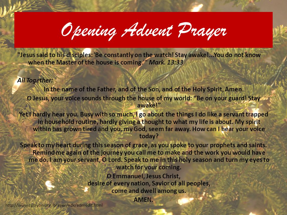Opening Advent Prayer