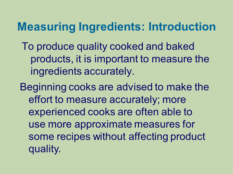 Measuring Ingredients: Introduction